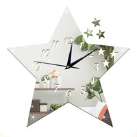 Living Room Silent Wall Clock Five-pointed Star Sticking    silver:30*30cm