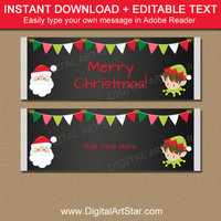 Christmas Candy Wrappers, PRINTABLE Candy Bar Wrapper Christmas, Santa Candy Labels, EDITABLE Chalkboard Chocolate Bar Label Template C2