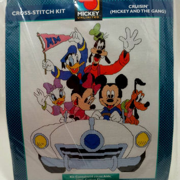 Mickey and the Gang Cruisin Cross Stitch Kit - No. 36015 by Just CrossStitch Kits Disney