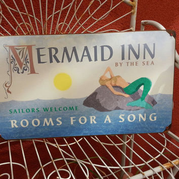 "Mermaid Inn  Rooms for a Song metal sign 8x14""   Mermaid, ocean, bathroom, colorful wall decor"