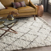 Twinar Hand-Knotted Wool Off White/Dark Grey Area Rug