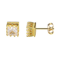 Iced Out 14k Gold Finish Sterling Silver Square Shape Prong Solitaire Earrings