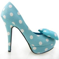 Show Story Light Blue Two Tone Spot Polka Dots Bow Stiletto Platform High Heel Pump,LF30406LB36,5US,Light Blue