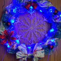 18 inch christmas wreath with snowflake center piece and blue and silver deco mesh with blue LED lights , winter wreath, holiday decor