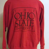 Vintage Awesome 80s The OHIO STATE BUCKEYES College University Graphic Red Large Women Oversized Slouchy 50/50 Crewneck Sweatshirt