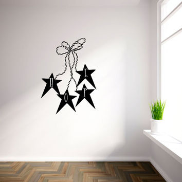 Hope with Primitive Stars and Twine Vinyl Wall Words Decal Sticker Graphic