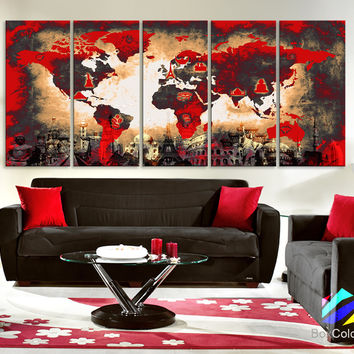 """Xlarge 30""""x 70"""" 5 Panels 30x14 Ea Art Canvas Print Original Wonders of the world Old Paper Map Red Yellow Wall decor Home interior (framed 1.5"""" depth)"""