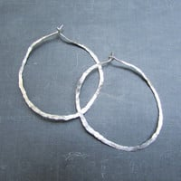 Sterling Silver Hammered Oval Loop Earrings, Metalwork Hoops, Handmade Jewelry