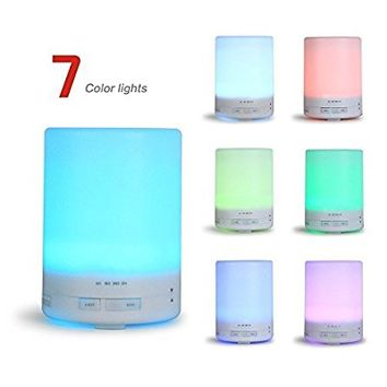 Cocopa 300ml Aroma Essential Oil Diffuser Ultrasonic Cool Mist Humidifier with Low Water Smart Protection, 7 LED Colorful Lights, 8 Hours Continuous Diffusing for Office Bedroom