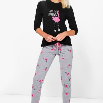 Flamingo PJ Long Sleeve Jogger Set | Boohoo