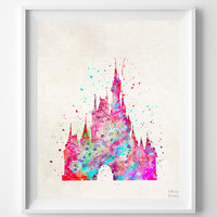 Cinderella Castle Print, Disney Watercolor, Type 1, Disney Castle Poster, Illustration, Home Decor, Room Art, Kid Wall, Halloween Decor