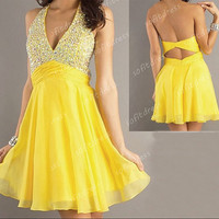 junior bridesmaid dresses, cheap bridesmaid dress, yellow bridesmaid dresses, junior cocktail dresses, homecoming dresses, BE0323