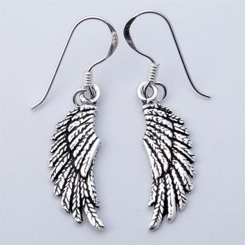 925 Sterling Silver Angel Wings Dangle Drop Earrings Biker Jewelry Gifts for Women Wife Her Girlfriend Girls ping YCE03