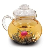 Primula Blossom 40 Oz. Glass Teapot, Infuser and Lid with Flowering Teas