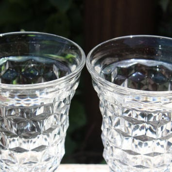 American clear Fostoria water goblets, 17 AVAILABLE -vintage Early American water goblets, crystal diamond water goblets, wedding toasting