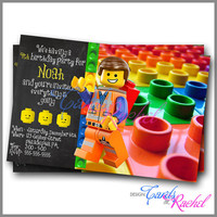 Emmet Lego Inspired - Invitation Card Design For Birthday Party Kid