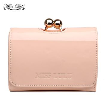 Buy 1 Get 1 at 20% Off Miss Lulu Women Ball Clasp Matinee Purse Wallet Clutch Girls Small Coin Money Bag Patent Leather LP1688