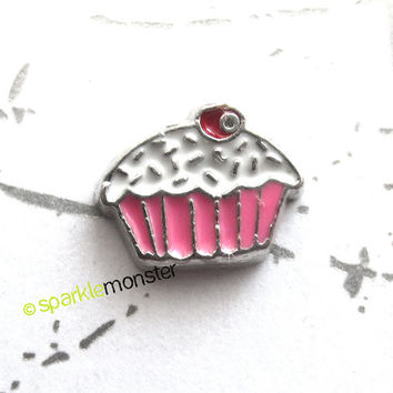 Pink Cupcake - floating charm, USA seller, 1 piece, Origami Owl, cute
