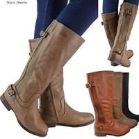Women's Knee High Flat Riding Boots Buckle Faux Leather Boot New Black Khaki Tan