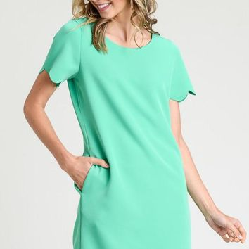 Scalloped Shift Dress - Green
