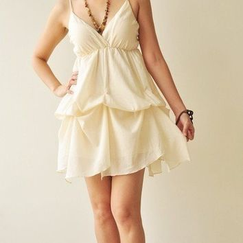 Jazzy Cream  Cotton Dress by aftershowershop on Etsy