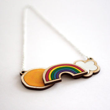 Weather Necklace, Hand Painted, Laser Cut Wooden Necklace, Birch Wood, Sun, Cloud, Rainbow Necklace, Made in Brighton UK