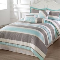 Bachelor 7 Piece Striped Down Alternative Comforter Set, California King, Light Blue/Grey/Beige