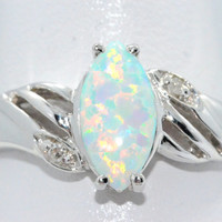 2 Carat Opal Marquise Diamond Ring .925 Sterling Silver Rhodium Finish White Gold Quality