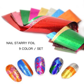 9 Color Set Nail Foil Transfer Sticker Summer Gold Color Holographic Starry Sky Design For Glue Nail Art Tip Manicure SA373