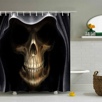 High Quality Waterproof 3d Death Capote Skull Design Custom Shower Curtain with Hooks Bathroom Curtains for Home Decorations