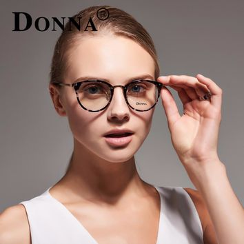 Donna Fashion Reading Eyeglasses Optical Glasses Frames Glasses Women New Cat Eye Frame Ultra Light Frame Clear Glasses Round