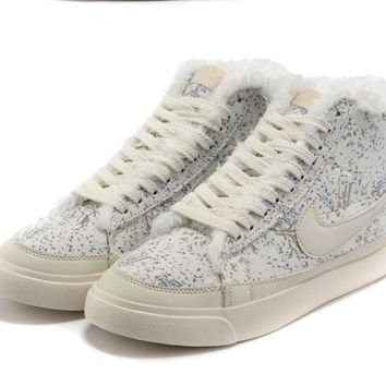 NIKE Women Men Running Sport Casual Shoes Sneakers high tops Plush shoes floral White blue