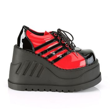 Stomp 08 Platform Sneaker Oxford Wedge Shoes 6-11 Red Black Patent