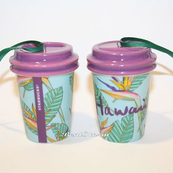 Licensed cool 2017 Starbucks HAWAII Bird of Paradise Tumbler Christmas Holiday Ornament 2 OZ