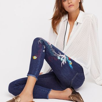 Free People Embroidered Bird Jean
