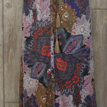 New Anthropologie Vanessa Virginia Skirt M size Multi Color Long Button Front