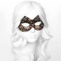 Nude & Black Lace Masquerade Mask -  Lace Covered Venetian Style Halloween Mask - For Masquerade Ball, Prom, Costume Party, Wedding
