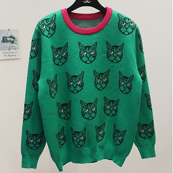 Gucci Trending Cat Print Round Neck Long Sleeve Pullover Sweater Green G