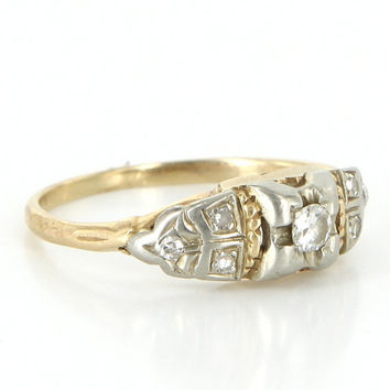 Antique Art Deco 10 Karat Yellow White Gold Diamond Small Right Hand Ring