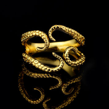 Retail Tentacle Beautiful octopus ringtentacle claw adjustable Hand made rings ancient silver Plating