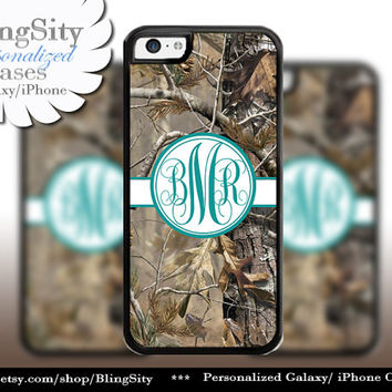 Camo Turquoise Monogram iPhone 5C 6 Plus Case iPhone 5s 4 case Ipod Realtree Cover Personalized real tree camo Country Inspired Girl