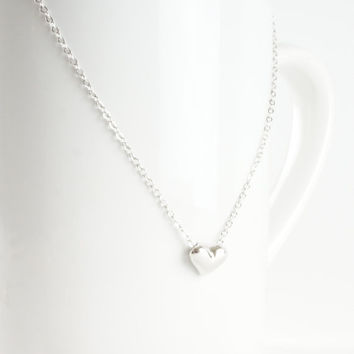 Silver Tone This Little Heart of Mine Mini Heart Minimalist Pendant Necklace