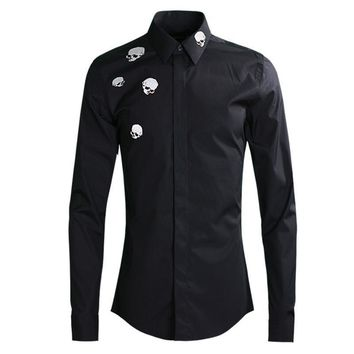 Fashion Skull Embroidery Shirt men Casual Slim long sleeve
