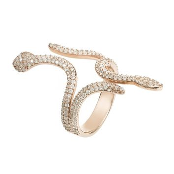 Rose Gold Sterling Silver Animal Print Zircon Ring