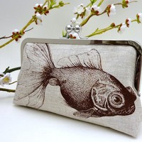 Linen Goldfish Clutch in Chocolate by JCarterHandmade on Etsy