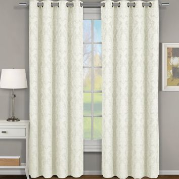 Off White Blair Jacquard Grommet Top Curtain Panel Pair (Two Panels )