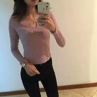 Small V-Neck Knitted Sweater Shirt B0013898