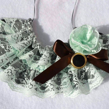 Mint Chocolate Ruffle Bib Necklace with vintage button black gold green brown birthday frilly adjusts fabric rose Prom statement Easter Mom