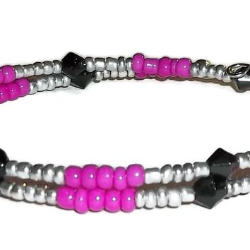 Hot Pink, Silver & Black Glass Beaded Artisan Crafted Stackable Wrap Bracelet (S-M)