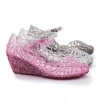 Olsens01 Round Toe Jelly Glitter Mary Jane Wedge Webbed Cut Out Sandals
